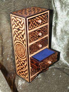 5Drawer Woodburned Celtic Tower by burntstuff on Etsy, $200.00