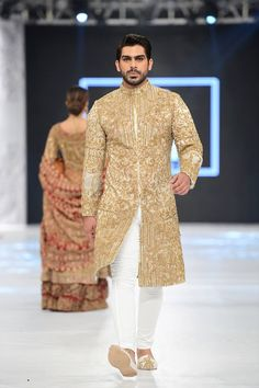 HSY white and gold embroidered sherwani designs 2016-2017