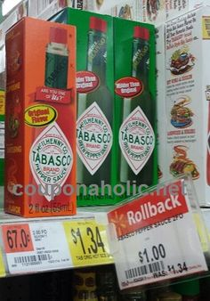 RESET $0.50/1 Tabsco Sauce printable coupon ($0.50 at Walmart with rollback!) - http://www.couponaholic.net/2015/03/reset-0-501-tabsco-sauce-printable-coupon-0-50-at-walmart-with-rollback/