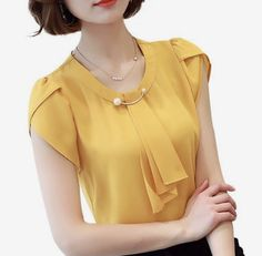 Summer solid chiffon blouse shirt short sleeve shirt women ladies office blouses fashion blusas yellow m Office Blouse, Work Blouse, Fashion Outfits, Womens Fashion, Fashion Tips, Ladies Fashion, Ladies Outfits, 50 Fashion, Fashion Styles