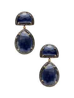 Shay Blue Sapphire & Champagne Diamond Double Drop Earrings