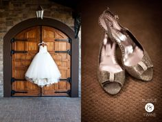 Ball gown wedding dress with silver metallic shoes {photo by Bustle & Twine}