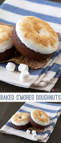 Baked S'mores Doughnuts Recipe ~ made with an easy chocolate doughnut that's baked instead of fried and topped with marshmallow cream and graham cracker crumbs.