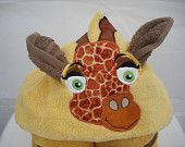 Giraffe hooded towel - great for kids from birth to age 6.