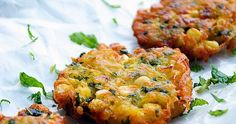 Potato & Corn Fritters Recipe Side Dishes with potatoes, corn kernels, ground tu. Indian Food Recipes, Vegetarian Recipes, Cooking Recipes, Healthy Recipes, Burger Recipes, Croatian Recipes, Cooking Ideas, Easy Recipes, Broccoli Fritters