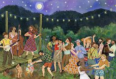 """Moon Dance""  Phoebe Wahl 2014 Watercolor, collage, colored pencil. 20x14""."
