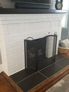 Excellent Screen wooden Fireplace Hearth Strategies 8 Simple and Stylish Tricks: Fireplace Insert How To fireplace cover hearth. Fireplace Hearth Tiles, Fireplace Fronts, Wooden Fireplace, Paint Fireplace, Freestanding Fireplace, Shiplap Fireplace, Concrete Fireplace, Farmhouse Fireplace, Home Fireplace