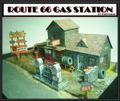 Route 66 Abandoned Gas Station Free Building Paper Model Download