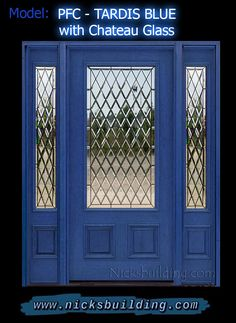 NAVY BLUE FRONT DOOR WITH DIAMOND GLASS. Painting, staining, or tinting your front door blue is a huge trend! We have been getting so many calls about doors being blue, that we decided to create a BLUE DOOR LINE! this color is Tardis Blue & This bkue door looks amazing! Front Door Entrance, Glass Front Door, Glass Door, Modern Lodge, Tardis Blue, Doors Online, Painted Front Doors, Leaded Glass, Wooden Doors