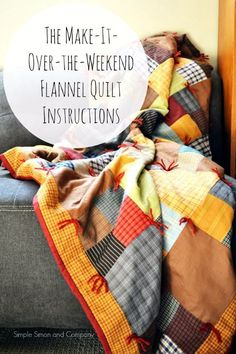 Best Quilts to Make This Weekend - Over-The-Weekend Flannel Quilt - Free Quilt Patterns and Quilting Tutorials - Quilting for Beginners and Sewing Ideas - DIY Baby Quilts, Printables, New and Easy Modern Quilts, Jelly Roll, Quilt Squares, Fat Quarters and Scrap Ideas http://diyjoy.com/free-quilt-patterns-tutorials