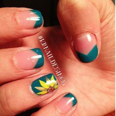 Sunflower nail design.