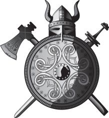 Helmet, sword, axe and Shield of Vikings vector art illustration