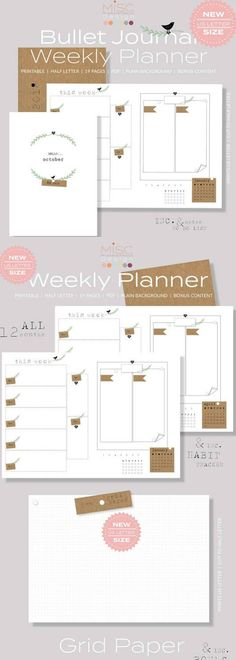 Rustic Theme Bullet Journal Weekly Planner NEW Bullet Journal Printable Weekly Planner Kit, 2018 Weekly Spreads, Habit Tracker, To Do List, US Half Letter, BONUS Grid Page Free #affiliate #bulletjournalweeklylog #plannerprintable #printablebujo
