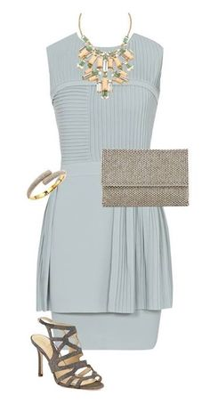 Here Comes The Guest collection. Style Corner by Samantha. Stay Classic and chic with a grey peplum dress. Keep accessories neutral and add drama with a statement necklace. Bracelet: Michael Kors, Necklace: Kate Spade New York, Sandals: Kate Spade New York, Clutch: Reiss, Dress: Reiss