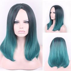 45cm New Colorful Medium Long Natural Straight Central Parting Full Wig For Women Black Green HB88