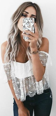 #summer #musthave #outfits |  White Lace Crop + Denim
