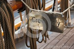 Photo about The crew only sign of the ship. Image of selective, hanging, ship - 57314989 Objects, Chanel, Ship, Stock Photos, Tote Bag, Signs, Image, Shop Signs, Ships