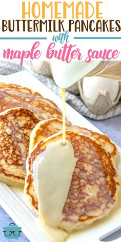 Best buttermilk pancakes with maple butter sauce The secret to the Best Buttermilk Pancakes? Slightly crispy edges and a soft fluffy middle. Top it all off with maple butter sauce! Breakfast Appetizers, What's For Breakfast, Breakfast Pancakes, Breakfast Dessert, Breakfast Dishes, Fluffy Pancakes, Breakfast Casserole, Yummy Breakfast Ideas, German Pancakes