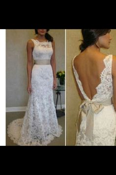 Love the lace hate the back. Deep V lace wedding dress