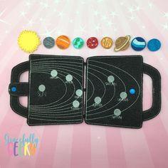 Solar System Felt Travel Board ITH Design 5x7 Hoop or Larger