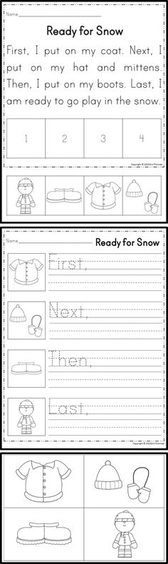 Students will sequence stories using the words first, next, then, and last…