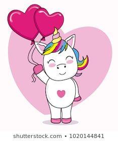 cute unicorn cartoon with heart-shaped balloons