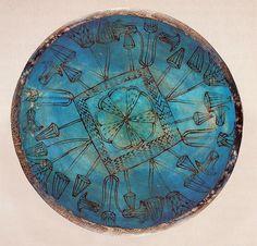Blue Faience Bowl with Lotus Fragment (18th Dynasty, Deir el-Bahri, Egypt.