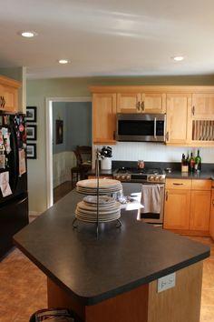 This Gray Blue Walls Oak Cabinets Light Granite Simple