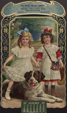 2 little girls with a big dog