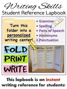 Writing Center Lapbook (grammar, punctuation, spelling, parts of speech, etc.) from The Classroom Sparrow on TeachersNotebook.com -  (9 pages)  - Turn an ordinary storage folder into a personalized writing reference for your students! This writing center lapbook will help guide your students when completing any form of writing.