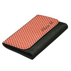 Orange polka dots and your name on a wallet