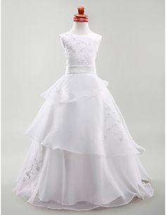 Flower Girl Dress Floor-length Satin/Organza A-line/Princess... – USD $ 74.99