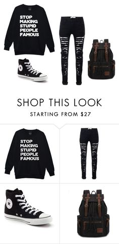 """""""Everyday 45"""" by mellowstrange on Polyvore featuring Converse and black"""