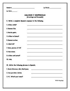 27 Best Spanish Worksheets // Level 1 images | Spanish 1, Spanish ...