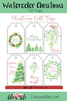 Free printable Christmas gift tags for wrapping all your Christmas presents this year. Christmas Present Tags, Free Printable Christmas Gift Tags, Free Printable Tags, Free Printable Gift Tags, Free Printables, Watercolor Christmas, Christmas Crafts, Xmas, Lilies