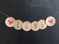 "Paper Garland ""Love"" or desired text Credit Card Transfer, Pretty Little, Dog Tag Necklace, Garland, Love, Lettering, Writing, Etsy, Cards"