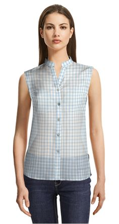 Blue and white checked blouse with white cutaway collar White Sleeveless Blouse, Short Sleeve Blouse, Mint Green Shorts, Cutaway Collar, Green Blouse, Suits For Women, Spring Summer Fashion, Tunic Tops, Shirt Dress