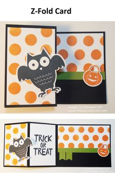 Z-Fold using Stampin'UP!'s Boo to You Framelits and Howl-o-ween stamp set . . . #BooToYou #HalloweenCard #OwlFramelit #stampinup