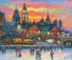 Ottawa Skate - Framed Fine Art Original Painting on canvas, by world renowned artist Elena Khomoutova