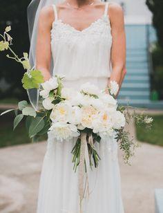 White garden rose + peony bouquet