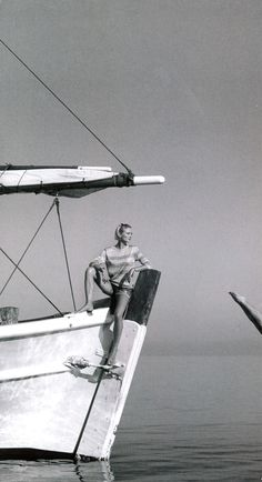 A classic black and white boat shot