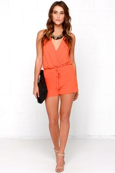 Good Form Orange Romper at Lulus.com!