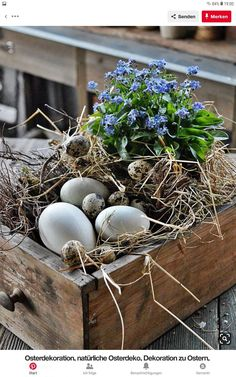 DIY - Ostern Easter decoration, natural Easter decoration, decoration for Easter, Easter eggs imchun Easter Table, Easter Eggs, Deco Floral, Spring Crafts, Easter Crafts, Easter Decor, Easter Centerpiece, Centerpieces, Spring Flowers