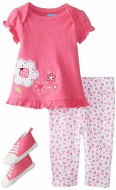 Bon Bebe Baby-Girls Newborn Flower and Ladybug Sneakers Top with Legging Set, Multi, 0-3 Months Bon Bebe