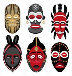 Illustration about This is the second illustration of vector African masks in my portfolio. No transparency and gradients used. Illustration of ethnic, culture, human - 10853855 African Art Projects, Art Du Monde, Afrique Art, Mask Drawing, Art Premier, Masks Art, African Masks, African Design, Tribal Art