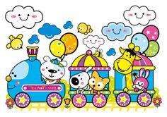 Cartoon train and small animals vector