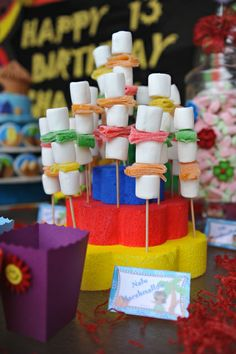 Creative marshmallow pops at a Luau Birthday Party!  See more party ideas at CatchMyParty.com!  #partyideas #luau