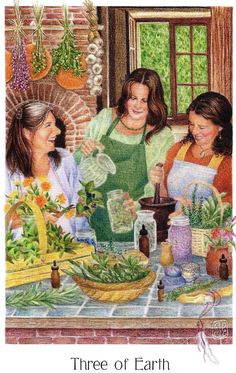 """Triple Kitchen Goddesses ~ the """"Three of Earth"""" card from the amazing """"Gaian Tarot"""" by Joanna Powell Colbert"""
