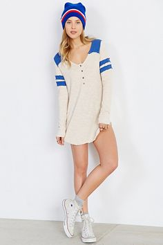 Truly Madly Deeply Colorblock Henley Tunic Top - Urban Outfitters