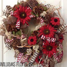 Fall Wreath, Mesh Wreath, Autumn Wreath, Burlap on Etsy, $135.00